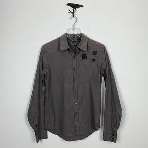 Fox Gray/Black Striped Long Sleeve Button Down